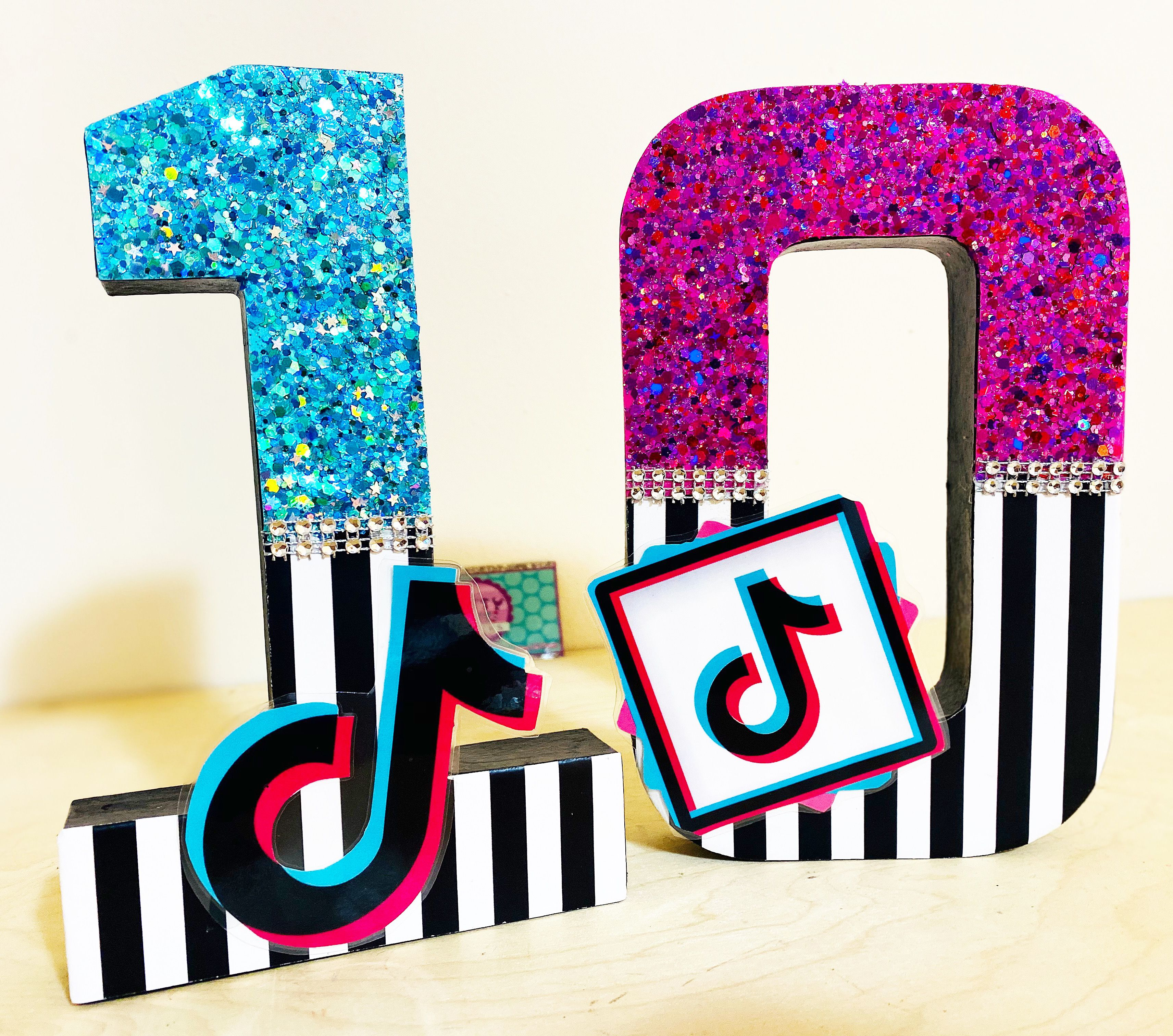 Tik Tok Glitter Number 8 Inch Themed Number Birthday Numbers Glow Birthday Party 12th Birthday Party Ideas