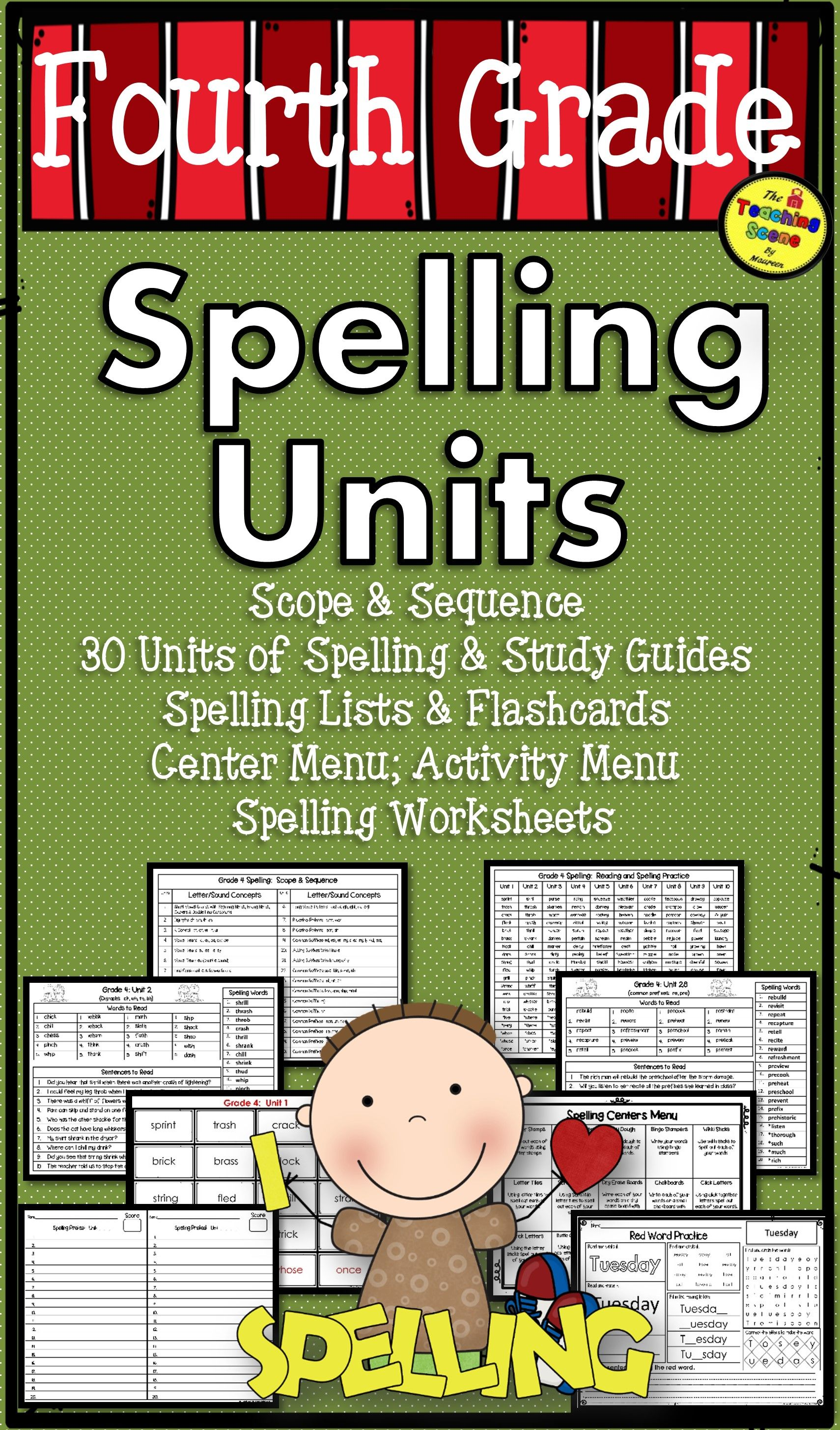 Fourth Grade Year Long Spelling Units Study Guides