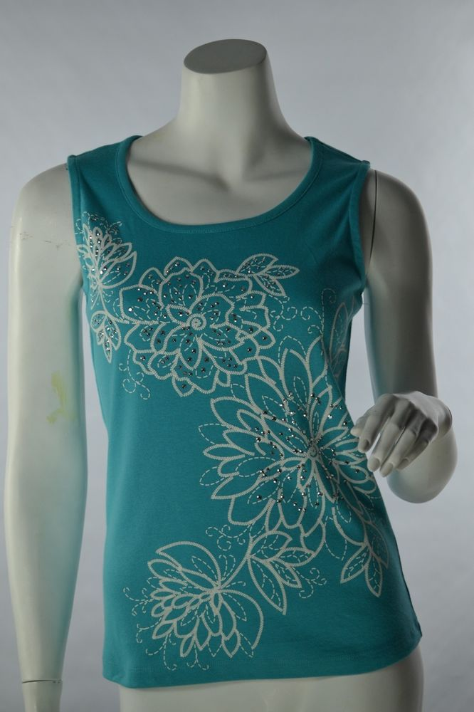 Karen Scott Scoop Neck Knit Tank Top Turquoise Blue/Green Floral Petite Small #KarenScott #TankCami #Casual