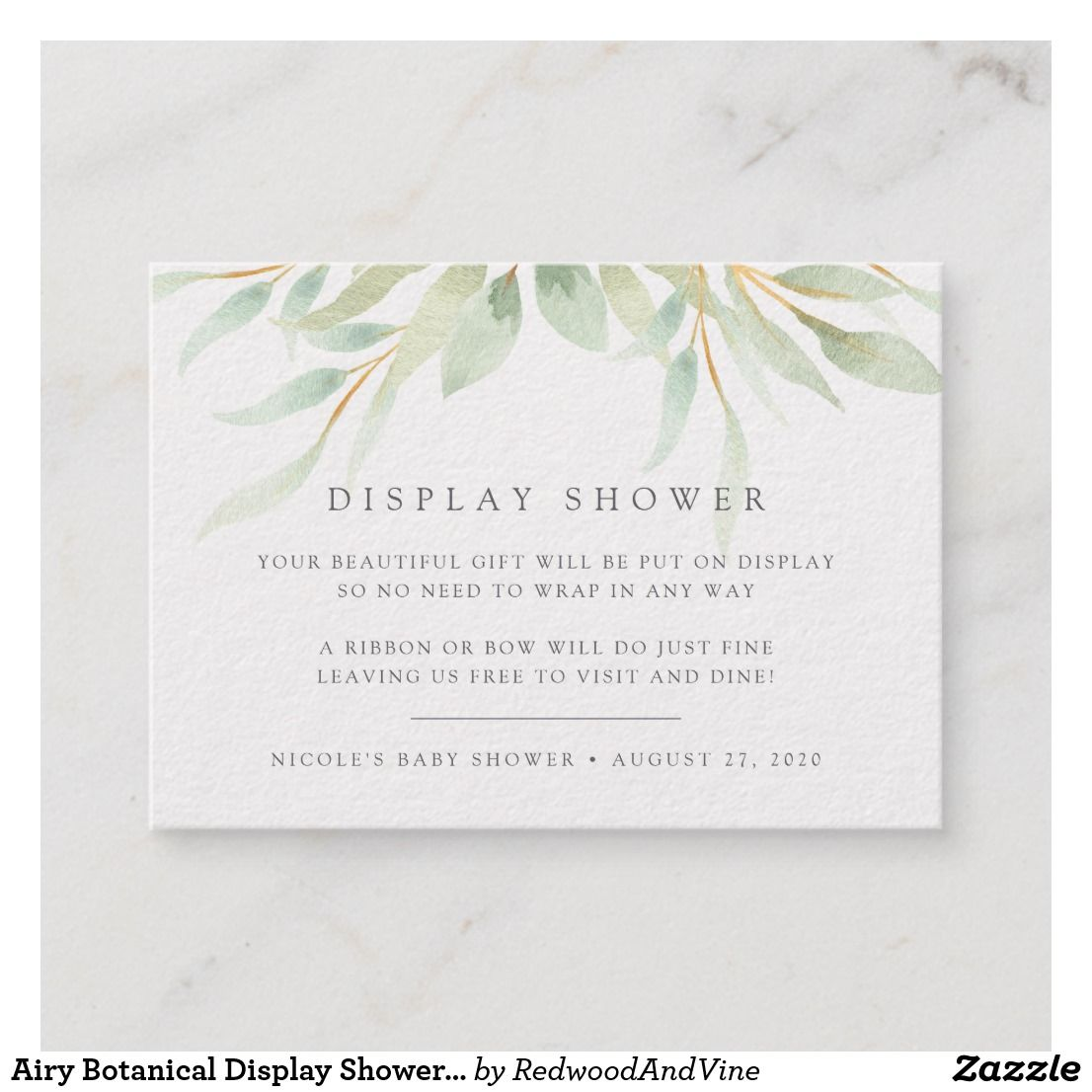 d511d9985e22 Airy Botanical Display Shower Card Slip these petite cards into your baby  shower or bridal shower invitations when requesting that guests bring their  gifts ...