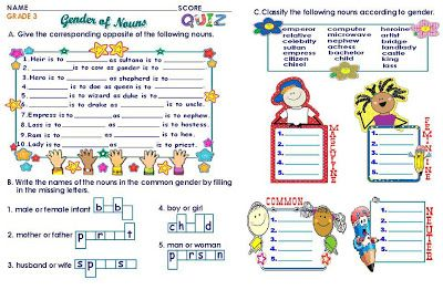 Grammar Worksheets Grade 3 Gender Of Nouns | ereny | Nouns worksheet ...