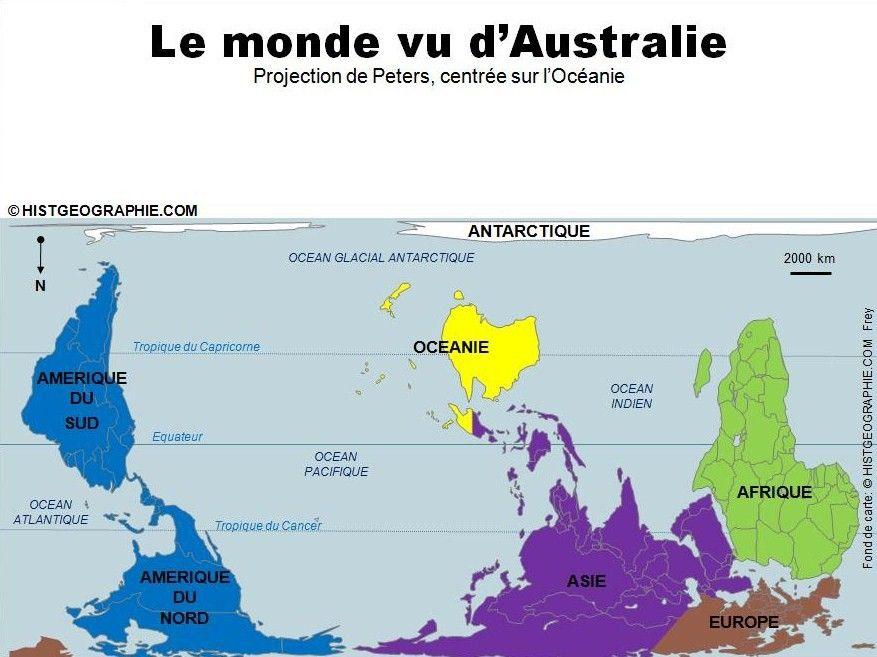 Carte Australie Inversee.Le Monde Vu D Australie Par La Projection De Peters