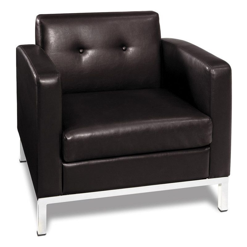 Office Star Ave Six WST51A-E34 Wall Street Arm Chair in Espresso Faux Leather