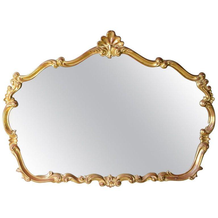 Wall Mirror Rococo Revival Taste, Vintage Brass Rococo Wall Mirror