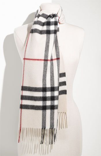 64969a5b9 Burberry Giant Check Fringed Cashmere Muffler | Wish list for her ...