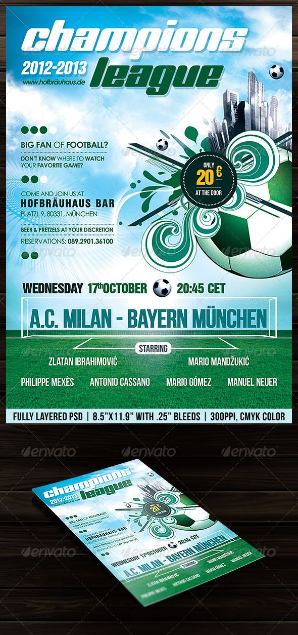 Football (Soccer) Poster Flyer Soccer poster, Flyer template and - football flyer template