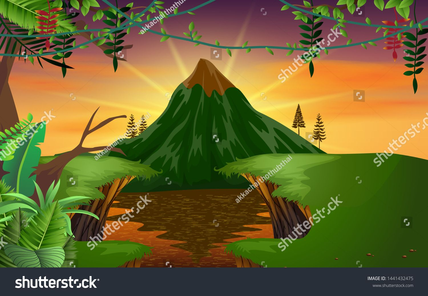 Landscape Of Lagoon With The Mountain Background In Morning Ad Ad Lagoon Landscape Mountain Morning Mountain Background Landscape Painting