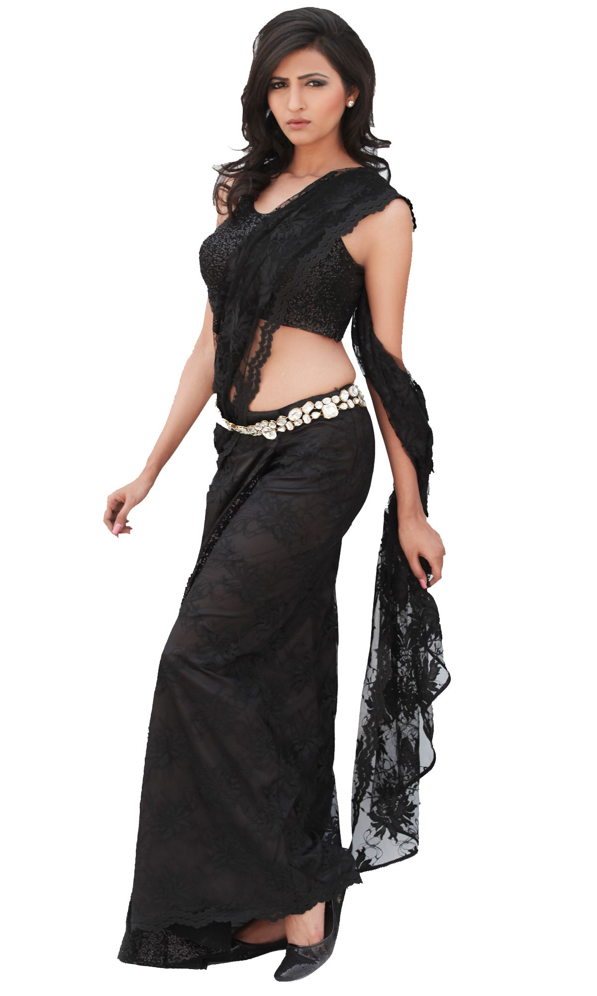 A black chandelier lace stitched saree skirt with a side slit 3d a black chandelier lace stitched saree skirt with a side slit 3d sequin arubaitofo Choice Image