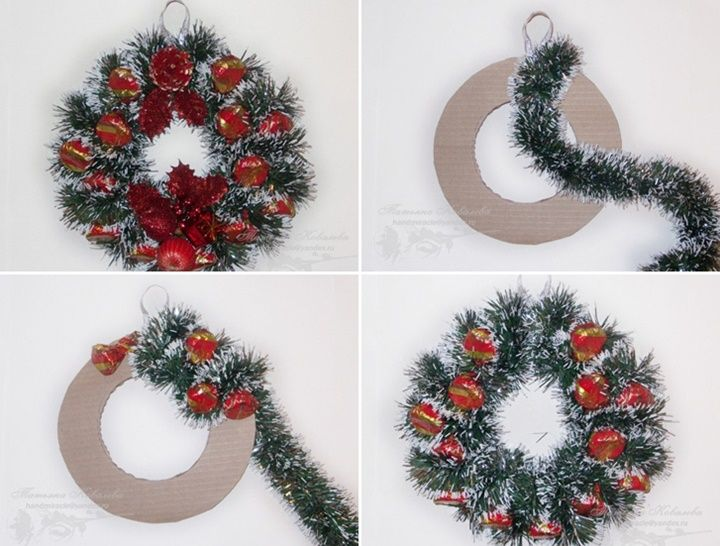 How to diy easy sweet christmas wreath see more for Simple christmas decorations to make