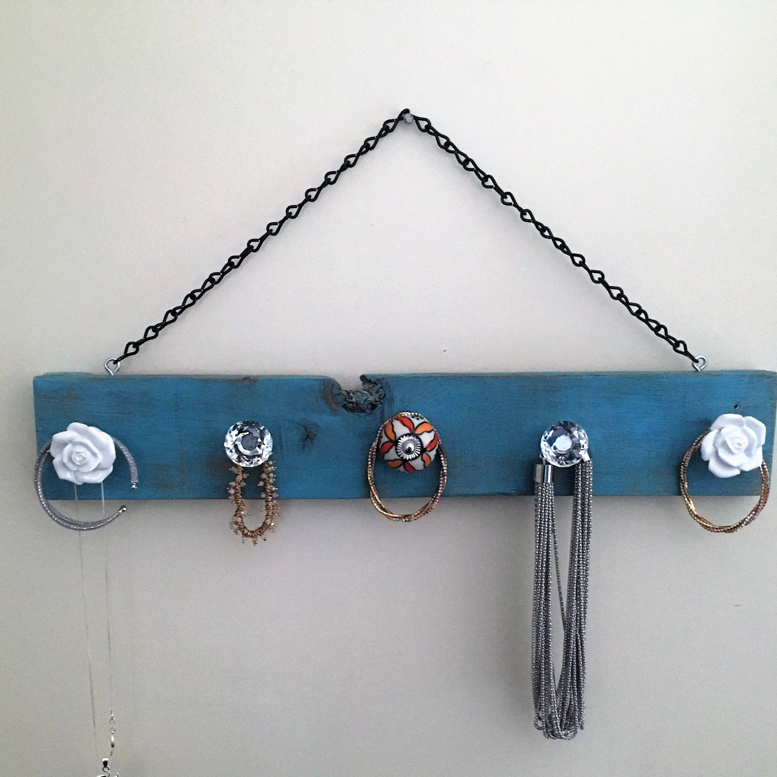 Jewelry Holder Hanging Jewelry and Accessory Organizer Rustic Teal