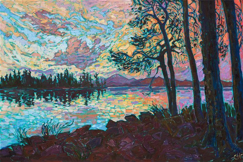 Oregon Cascades Sunset Landscape Painting In A Van Gogh Style By Modern Impressio Fine Art Prints Artists Sunset Landscape Painting Contemporary Impressionism