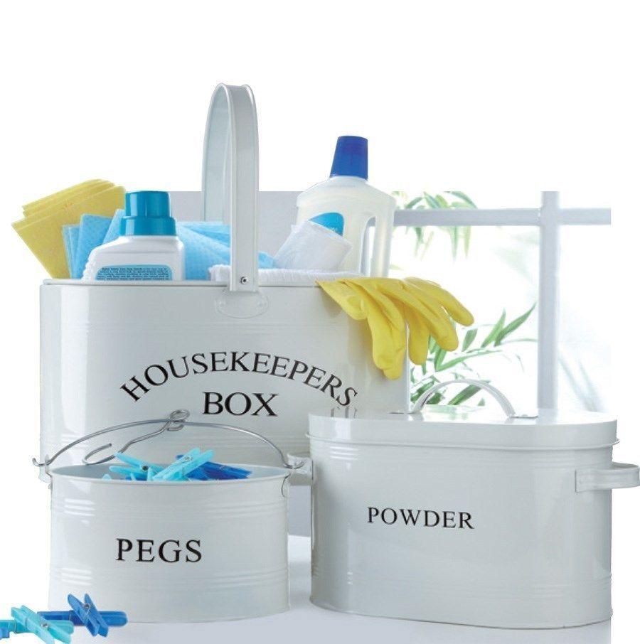 Bnib Housekeepers Cream Storage Set Laundry Washing Powder Tin Peg Box Xmas