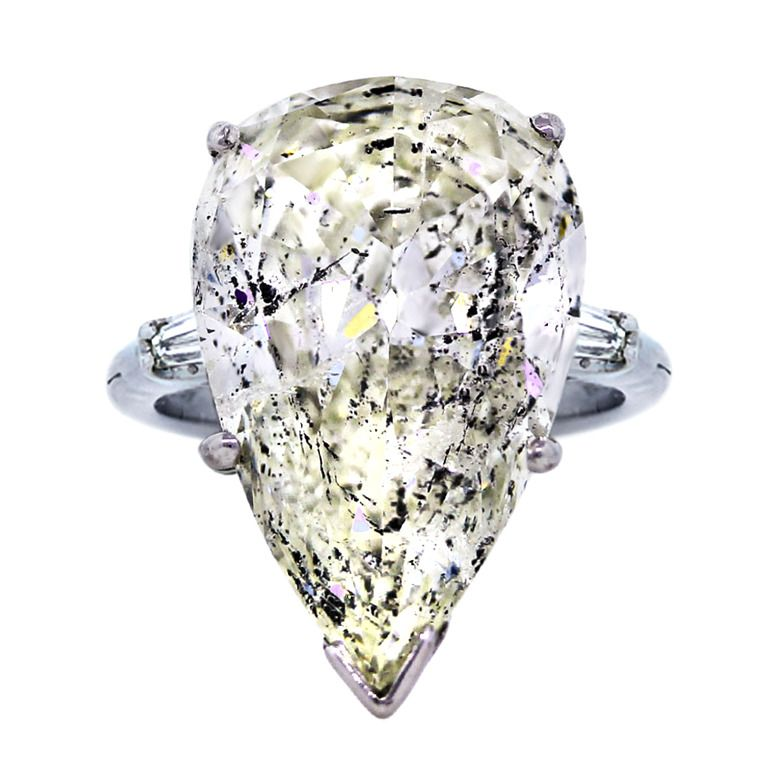 14.33 carat Pear Shaped Diamond Platinum and Gold Engagement Ring | From a unique collection of vintage engagement rings at http://www.1stdibs.com/jewelry/rings/engagement-rings/