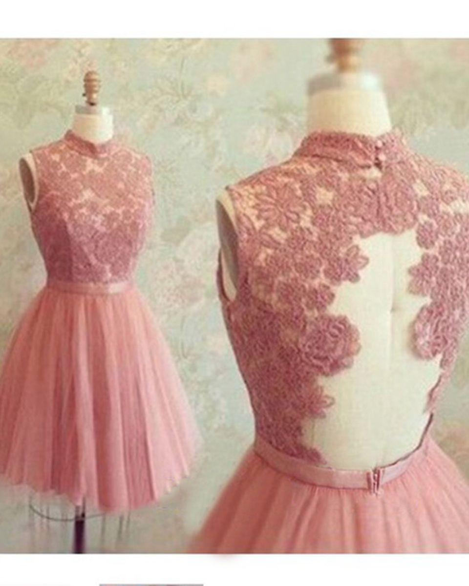 Rosa Spitze Short Abendkleid 2016 Elegante Schärpen Appliques Spitze ...