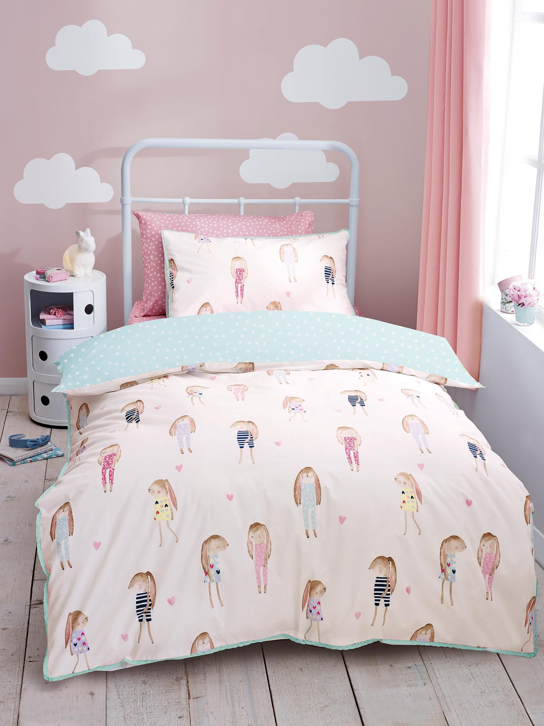 Next Girls Bedroom Furniture Buy Watercolour Bunnies Cotton Rich Print Bed Set From The Next Uk