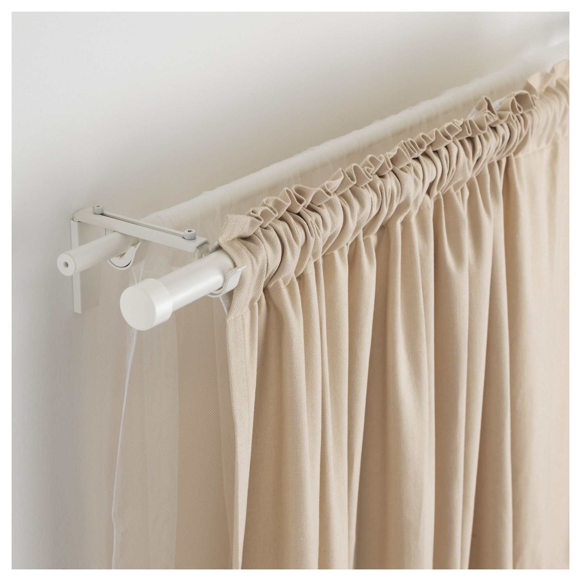 3 window bedroom curtains  rÄcka  hugad double curtain rod combination white in