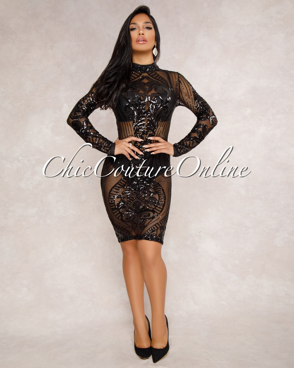 1a9c0f76e6e2 Chic Couture Online - Krystal Black Sequin Semi-Sheer Dress, (http:/