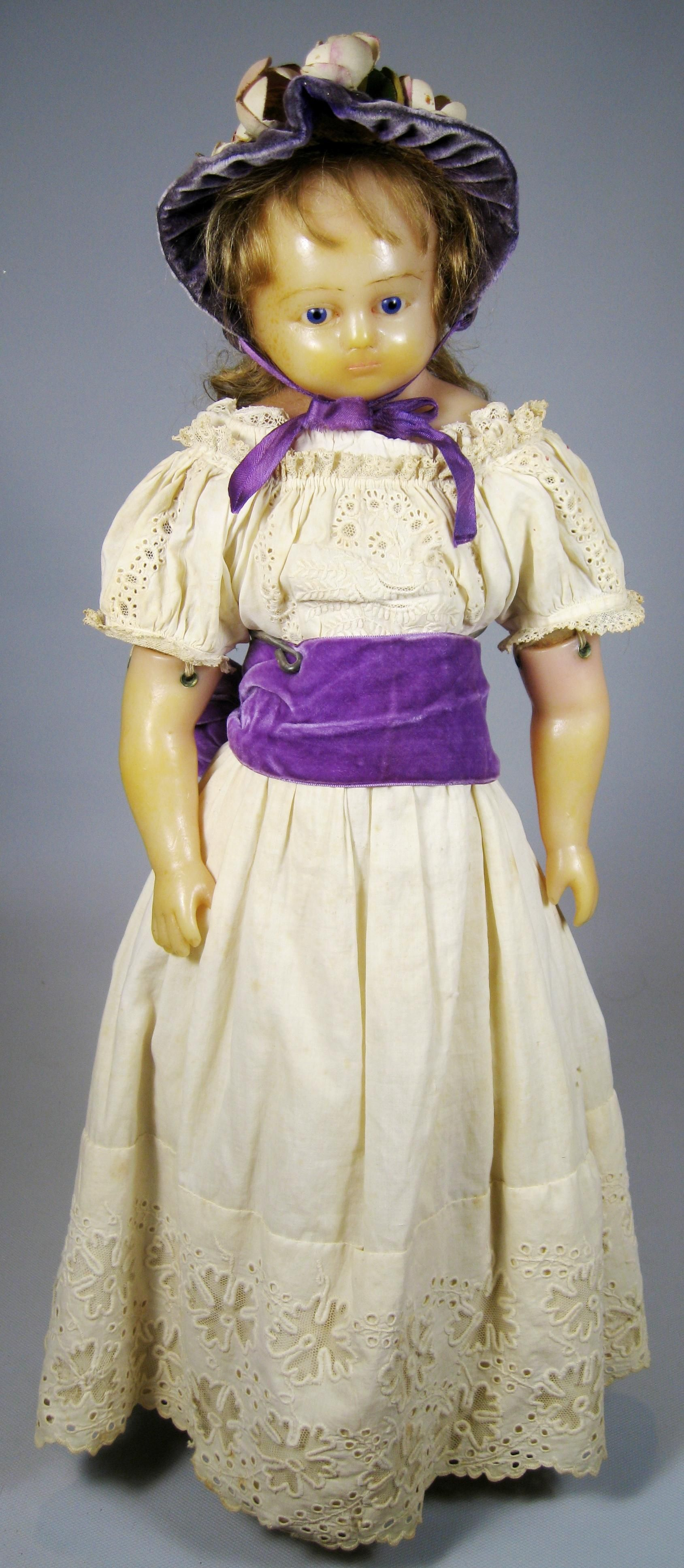 Antique English Poured Wax Doll #englishdresses1880