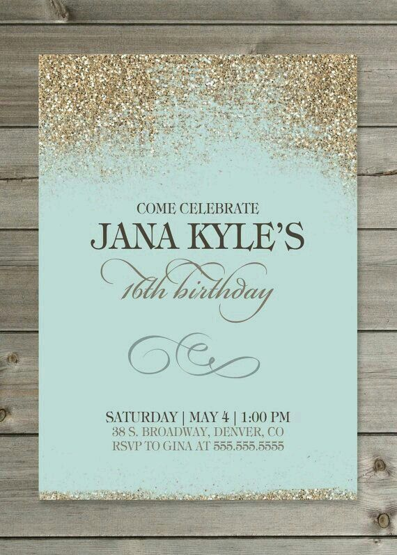 Tiffany Blue Gold Invatations Laurens Sweet Sixteen - Birthday invitation cards tumblr