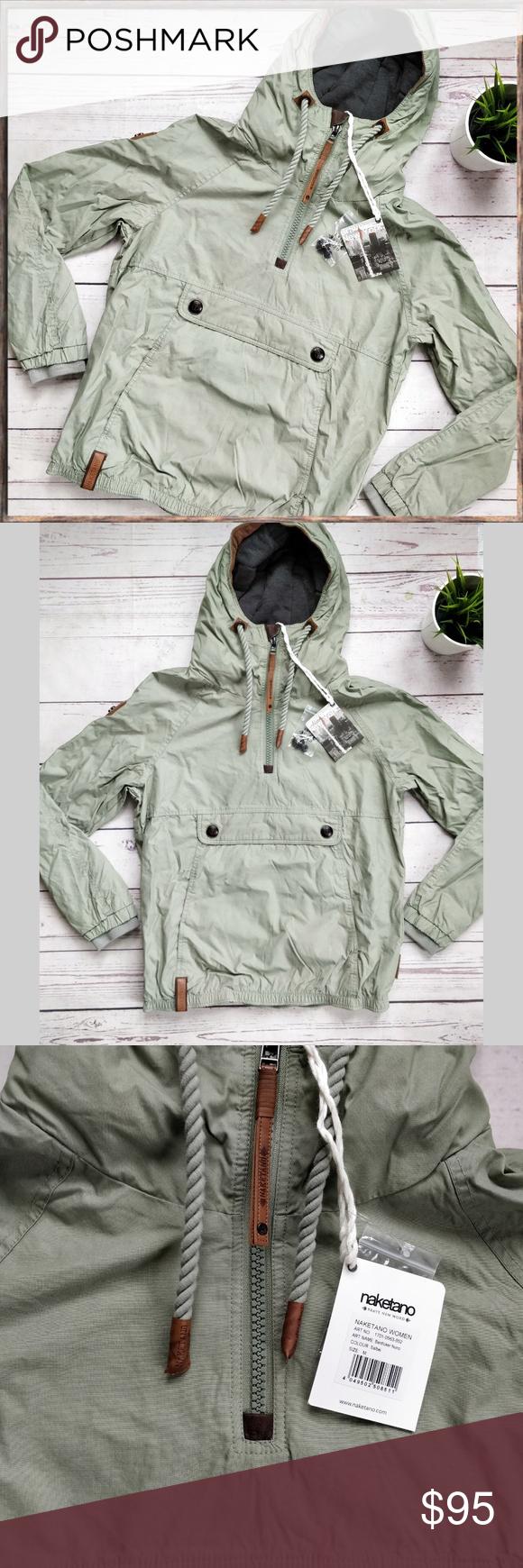 NWT NAKETANO Half Zip Hooded Light Green Jacket M This is a