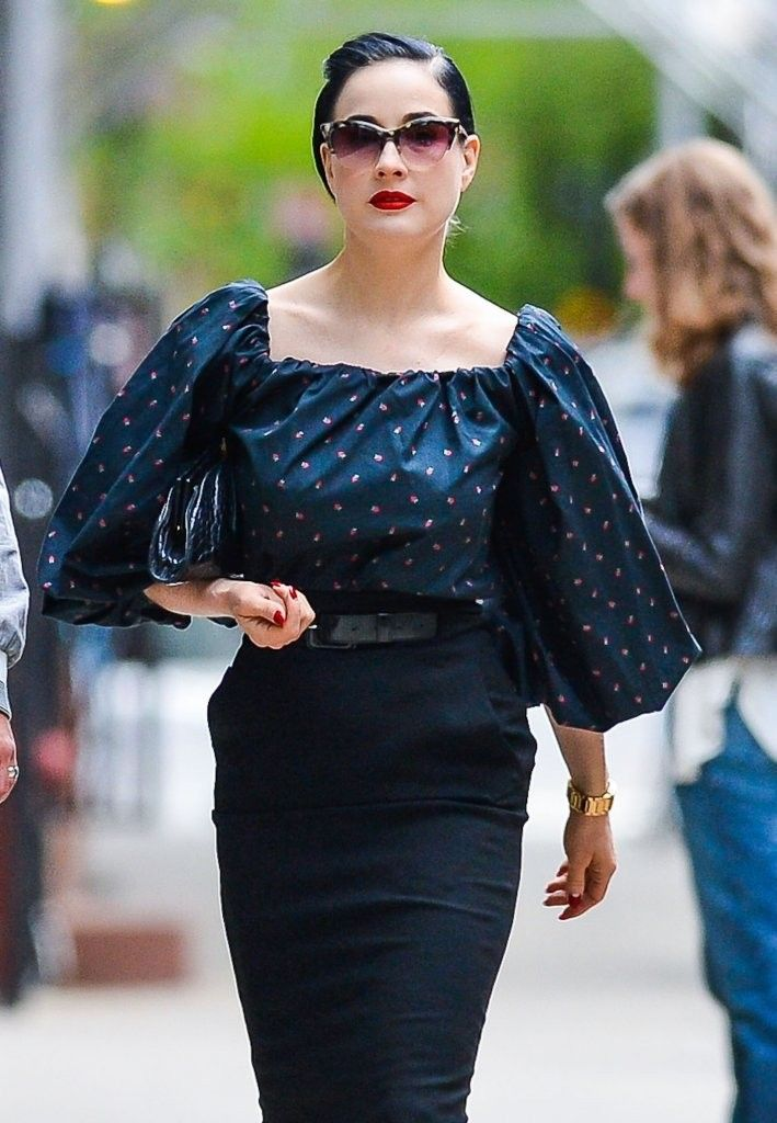 Dita Von Teese works a vintage inspired look out in NYC. www.MadamPaloozaEmporium.com www.facebook.com/MadamPalooza
