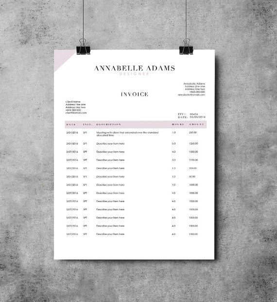 Invoice Page Adams 2 Page Invoice Template  Receipt Template  Invoice Design .