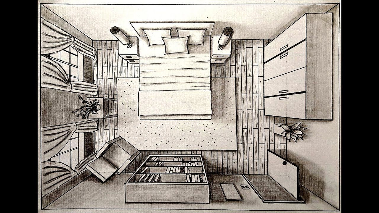 Drawing A Bedroom In One Point Perspective Bird S Eye Drawing A Bedroom In One Point Persp One Point Perspective Room Perspective Drawing Perspective Drawing