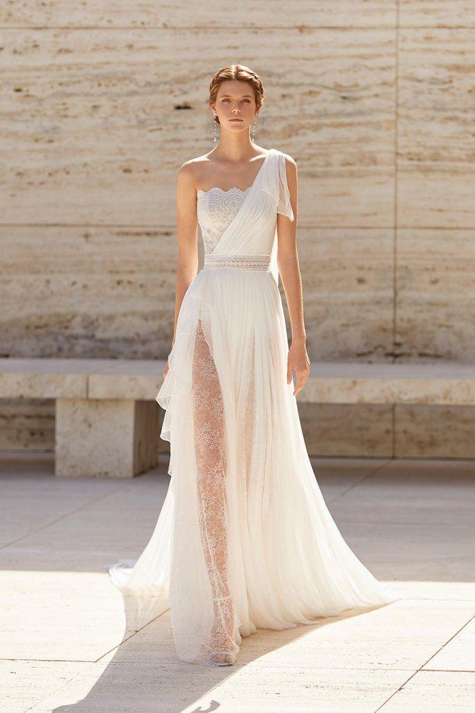 Spring 2021 Trend Alert: Asymmetrical Wedding Gowns