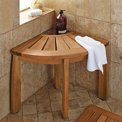 Resort Teak Corner Shower Seat With Basket Corner Shower Seat
