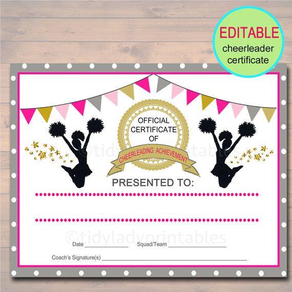Editable Cheerleader Certificate Instant Download Etsy In 2021 Cheerleading Cheerleading Award Cheerleading Awards