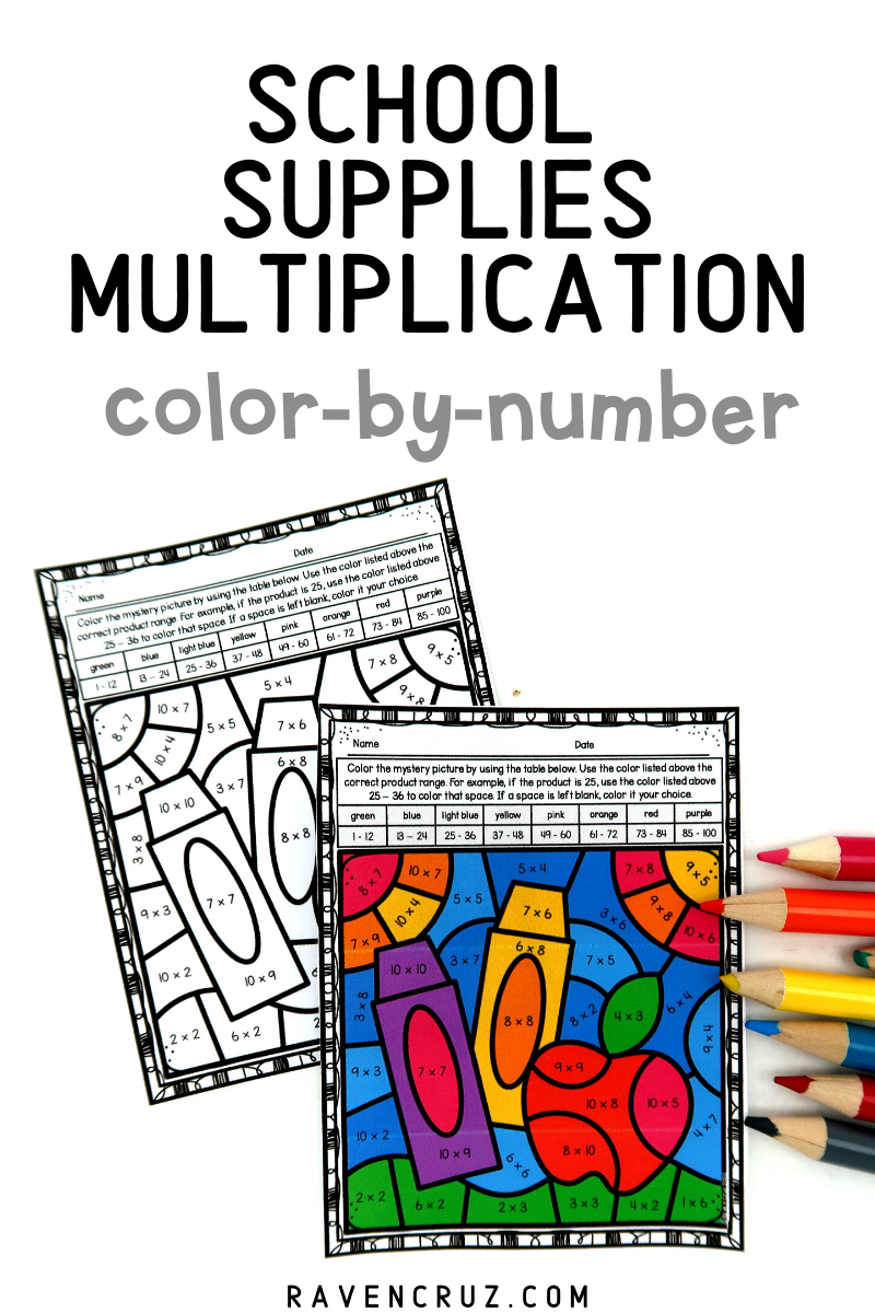 Back To School Math Multiplication Color By Number Worksheets Math Rotations 3rd Grade Math Worksheets Elementary Math Centers [ 1200 x 800 Pixel ]