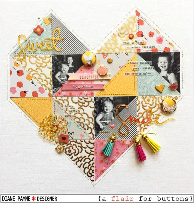 I love how she used triangles to make a heart on this scrapbook layout - Sweet Smile by dpayne at @studio_calico