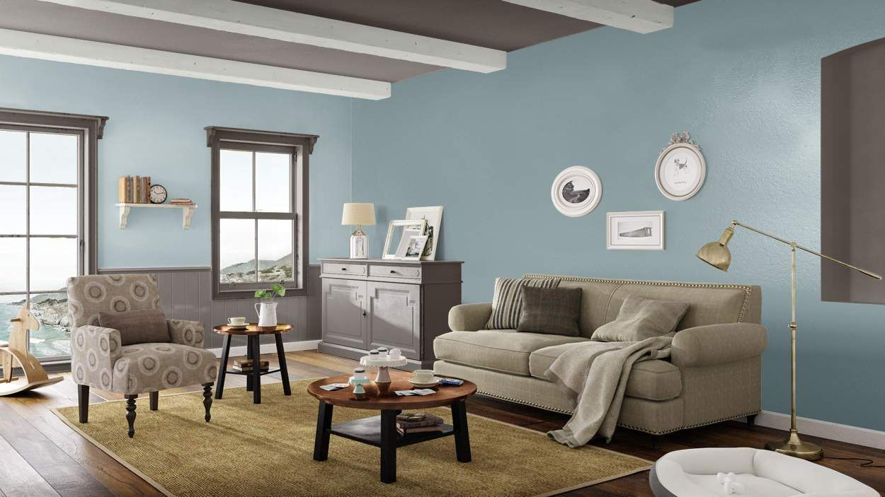 I created this coastal cottage living room using design by what
