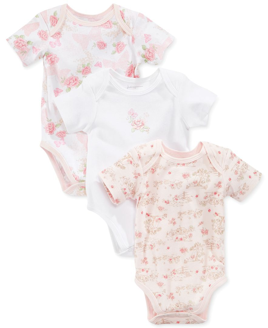0a0a413a28 First Impressions Baby Girl 3-Pack Bodysuits - Shop All Baby - Kids   Baby  - Macy s