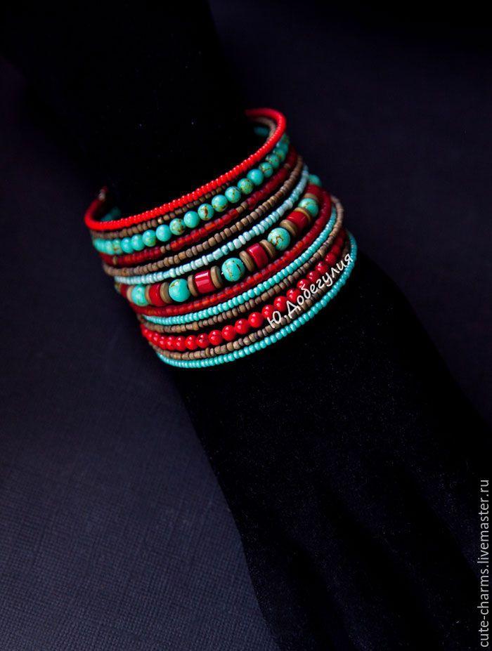 """Купить """"Мексика"""". Этнический мемори-браслет с натуральным камнем и бисером - браслеты с камнями, поделочные камни"""