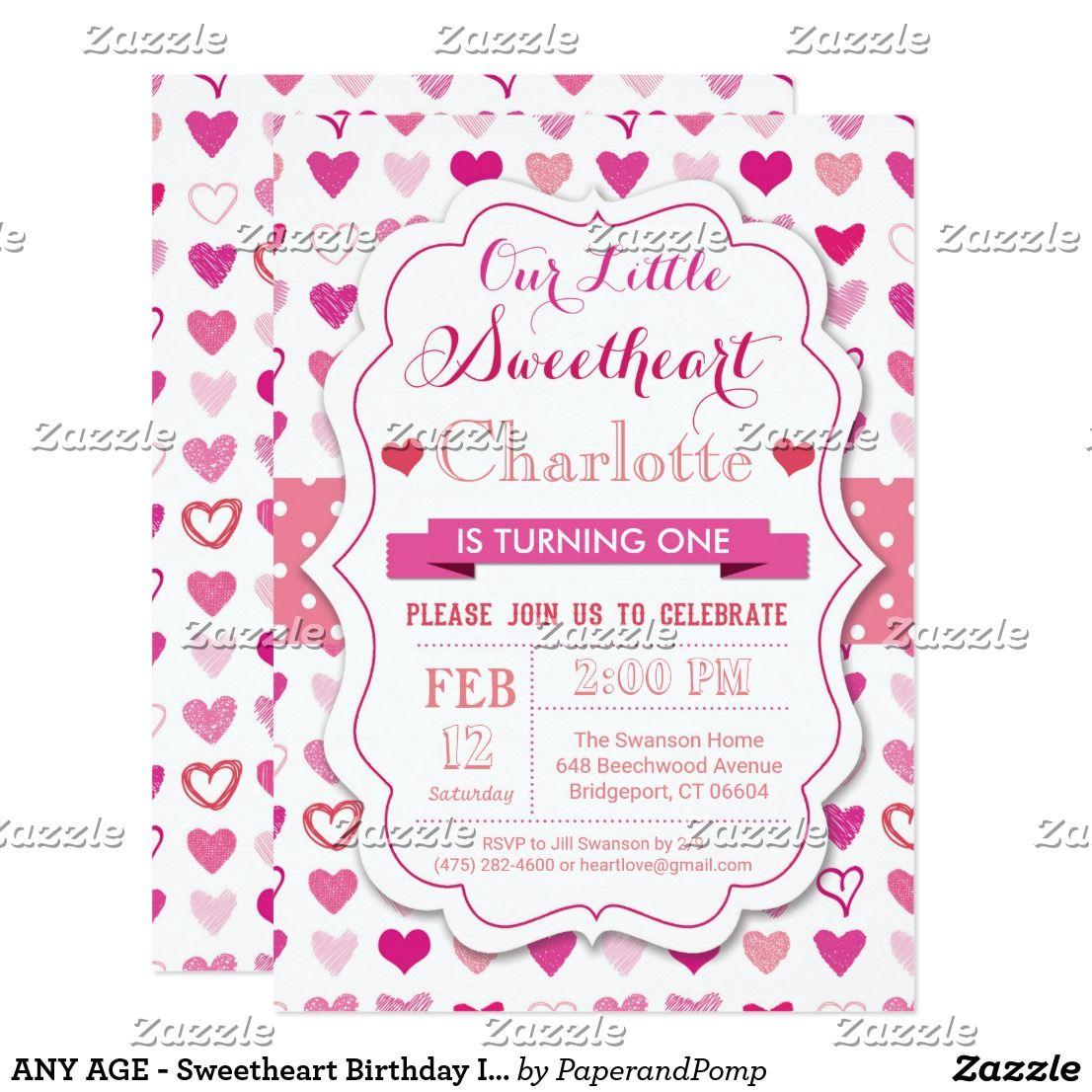 ANY AGE Sweetheart Birthday Invitation Sweetheart Heart Birthday