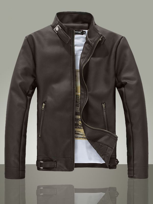 $39.36 -- Mens Leather Jacket Fresh Style Men Zip up Slim Leather ...