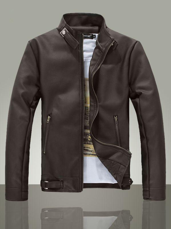 1874864b1 $39.36 -- Mens Leather Jacket Fresh Style Men Zip up Slim Leather ...