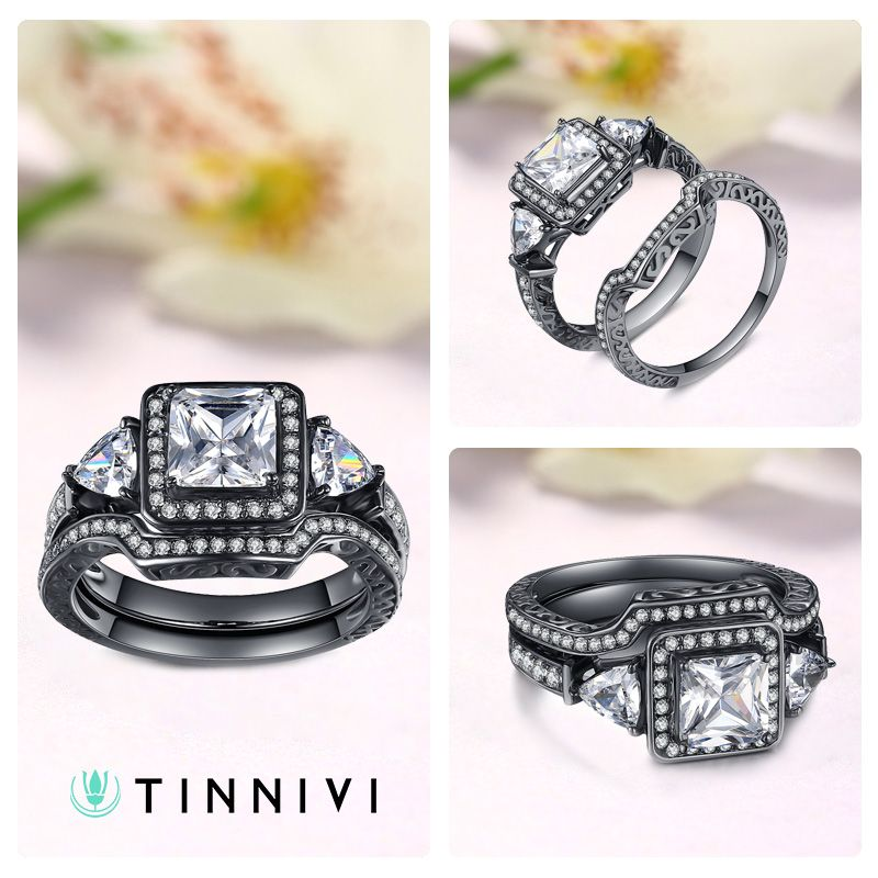 b554cc8bdaa Shop Princess Cut Gemstone Black 925 Sterling Silver Engagement Ring  online