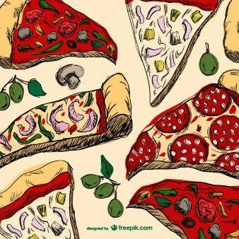 Dibujo de porciones de pizza  Pizzera  Pinterest  Food truck