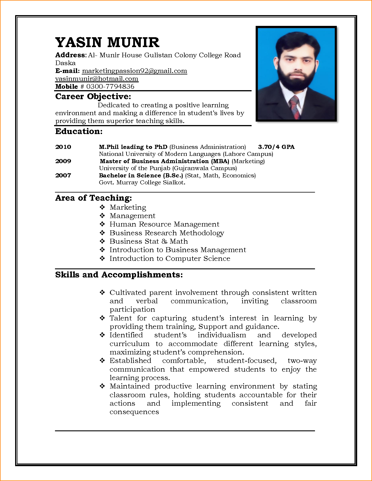 Resume Format For Jobs Cv Format For Job Application