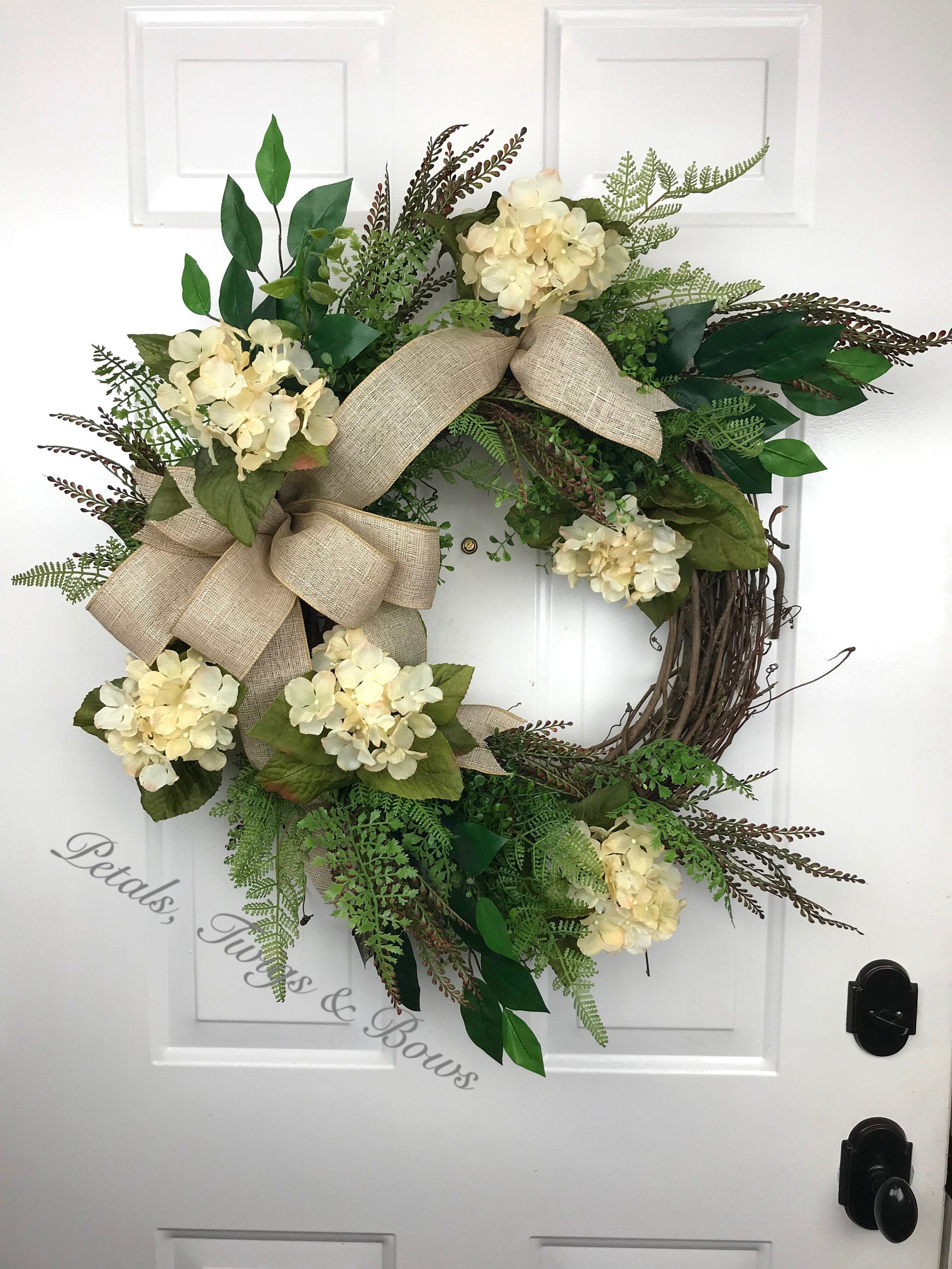 Everyday Wreath Neutral Hydrangea Greenery Outdoor Front Door Wall Decor Mantel By