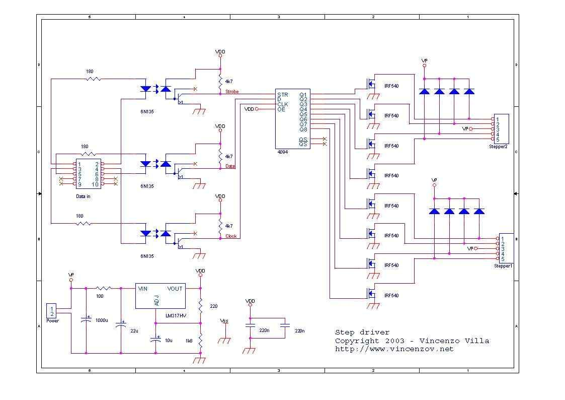 6n135 Isolated Unipolar Stepper Motor Driver Circuit Electronics Diagram