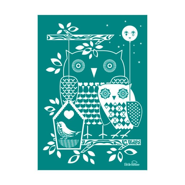 little house Owl wallpaper, Print, Wall stickers