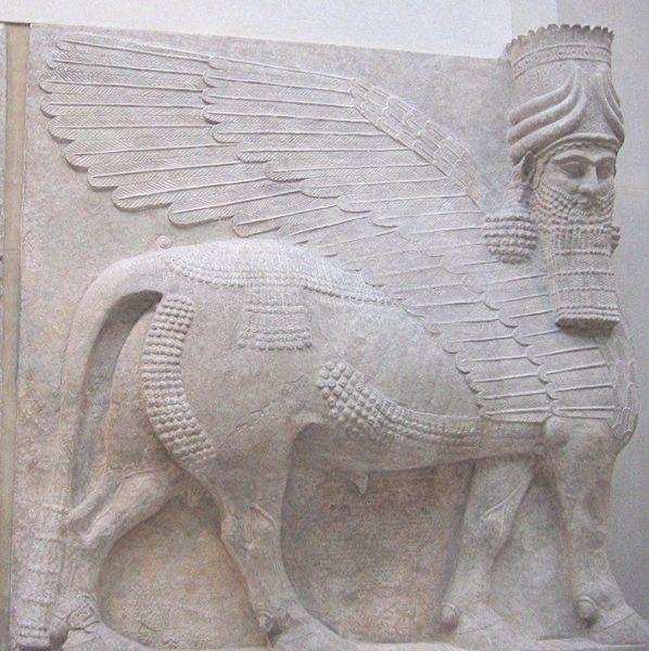 Favori Lammasu assyrien, taureau ailé à tête humaine, gardien du palais  UH04