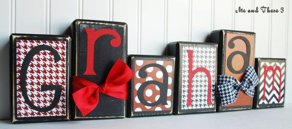 Wood Letter Name Block Customized With Your Colors And Style