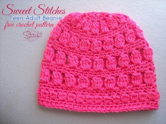 Sweet Stitches - TeenAdult Beanie - Free #Crochet Pattern | Inverno ...