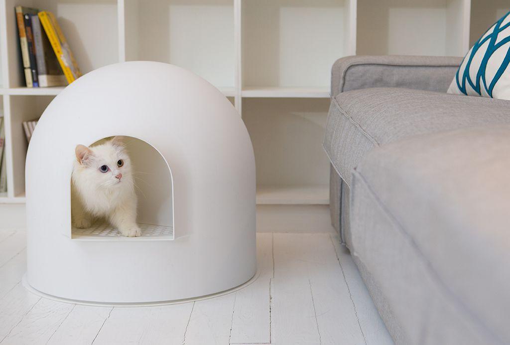 Litière pour chat cachée et design style scandinave