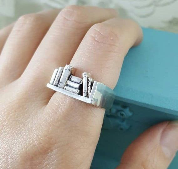 Gifts for Book Lovers: Tasteful Book Jewelry Bookshelf ring. Gifts for book lovers - book ring. Book and literary jewelry gift guide.