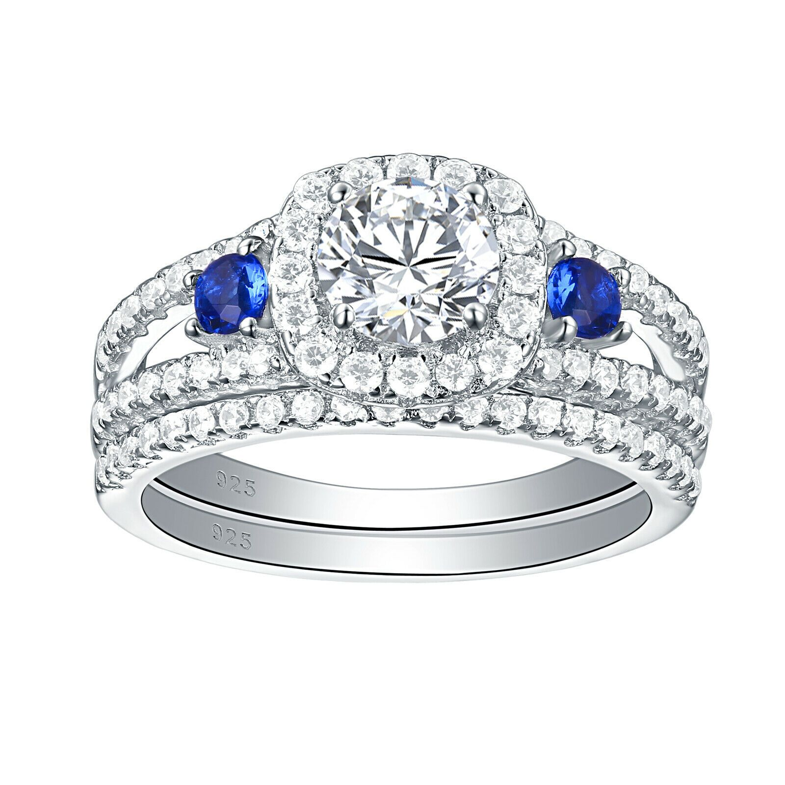 Genuine 925 Sterling Silver Sparkling 1.5 Ct AAA CZ Wedding Engagement Ring Gift